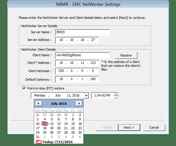 Networker Client server details